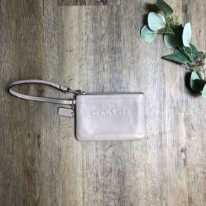 Coach Light Grey Pebbled Leather Wristlet